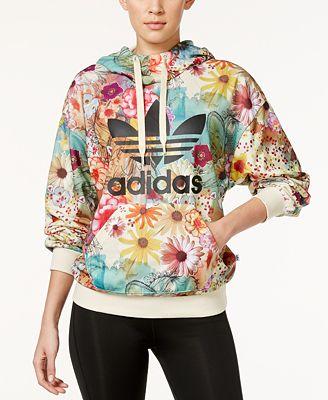 adidas Originals Floral-Print Trefoil Hoodie - Sweaters - Women ...