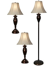 Set of 3 Dunbrook Finish Lamps: 1 Floor Lamp & 2 Table Lamps