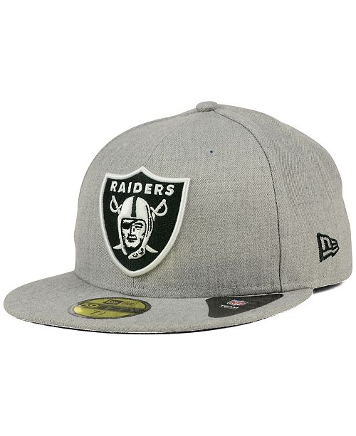 ... New Era Oakland Raiders Heather Black White 59FIFTY Fitted Cap ... 10c39d168