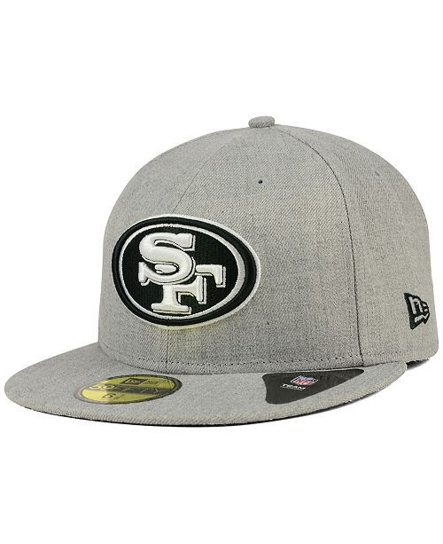 innovative design 48a2d 4bd41 ... New Era San Francisco 49ers Heather Black White 59FIFTY Fitted Cap ...