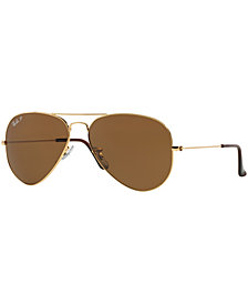 Ray-Ban Polarized Original Aviator Sunglasses, RB3025 58