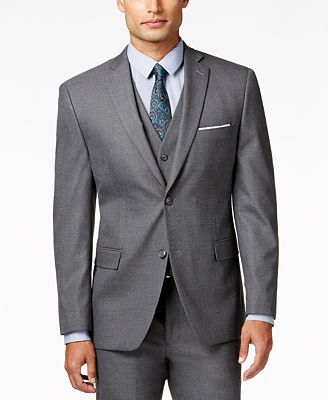 Alfani Traveler Men's Grey Solid Slim-Fit Suit Jacket, Created for ...