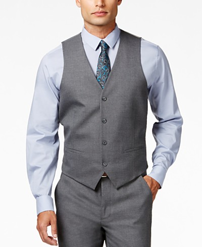 Alfani Men's Traveler Grey Solid Slim-Fit Vest, Created for Macy's