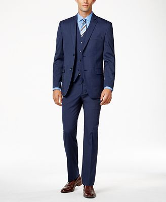 Alfani Men's Traveler Medium Blue Solid Slim-Fit Suit Separates ...