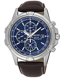 Seiko Men's Solar Chronograph Brown Leather Strap Watch 43mm SSC455