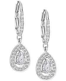 Silver-Tone Crystal Pavé Drop Earrings