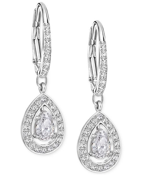 Swarovski Silver-Tone Crystal Pavé Drop Earrings - Fashion Jewelry ... 5558fe26ea