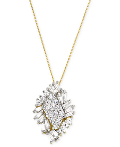 Wrapped in Love™ Diamond Cluster Pendant Necklace (1 ct. t.w.) in 14k Gold, Created for Macy's