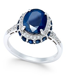 Blue Sapphire (4 ct. t.w.) and White Sapphire (1/3 ct. t.w.) Oval Ring in 10k White Gold
