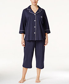 Lauren Ralph Lauren Plus Size Button-Front Top and Pants Pajama Set