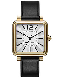 Marc Jacobs Women's Vic Black Leather Strap Watch 30mm
