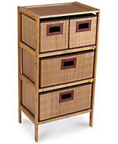 Household Essentials Bamboo 4-Drawer Storage Chest