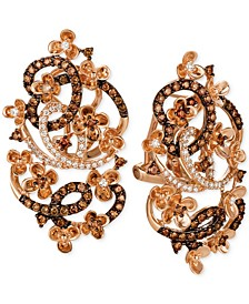 Crazy Collection® Diamond Fancy Scroll Floral Earrings (1-1/3 ct. t.w.) in 14k Rose Gold