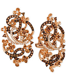 Le Vian Crazy Collection® Diamond Fancy Scroll Floral Earrings (1-1/3 ct. t.w.) in 14k Rose Gold