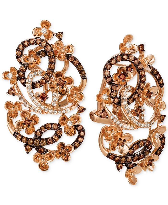 Le Vian - Diamond Fancy Scroll Floral Earrings (1-1/3 ct. t.w.) in 14k Rose, Yellow or White Gold