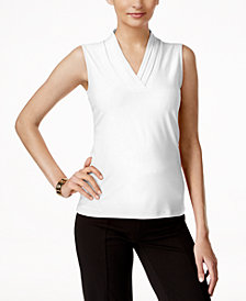 Anne Klein Pleat-Neck Tops