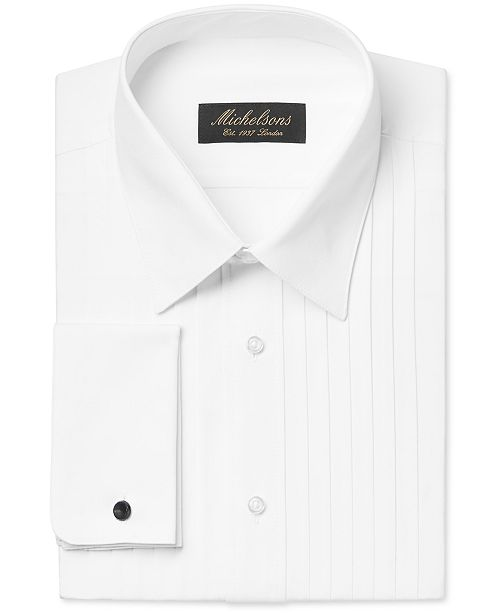 Michelsons Mens Classic Fit Pleated Point Collar Tuxedo Shirt With