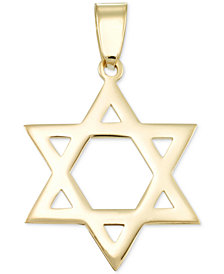 Star of David Flat-Style Pendant in 14k Gold