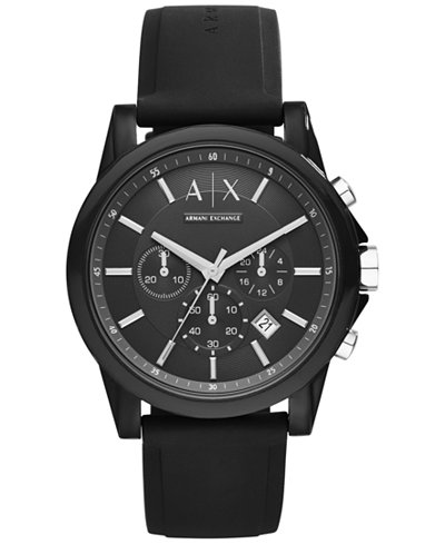 A X Armani Exchange Unisex Chronograph Black Silicone Strap Watch 44mm AX1326
