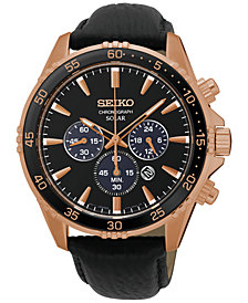Seiko Men's Solar Chronograph Black Leather Strap Watch 44mm SSC448