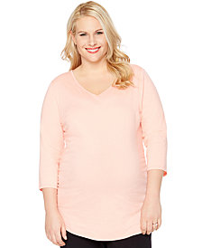 Motherhood Maternity Plus Size Ruched V-Neck Top