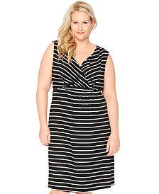 Motherhood Nursing Plus Size Striped Nursing Nightgown