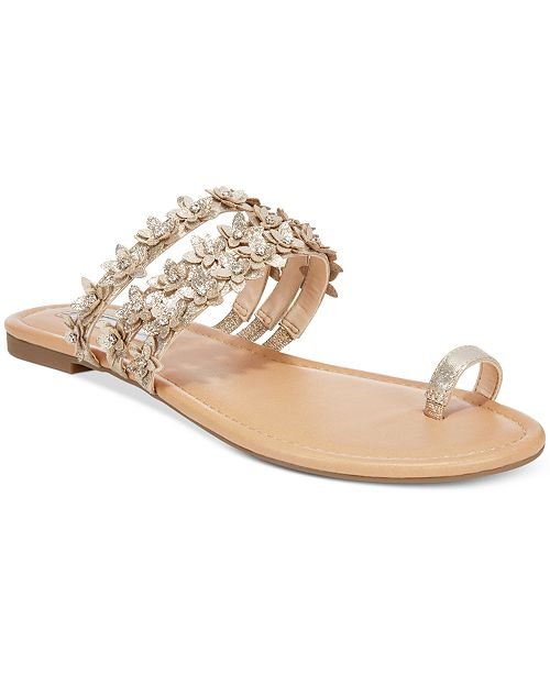 INC International Concepts I.N.C. Women's Linaa Flower Embellished Flat Sandals, Created for Macy's
