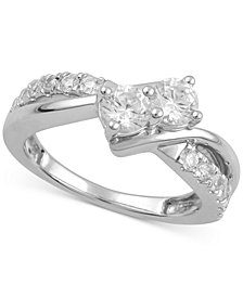 Two Souls, One Love® Diamond Two-Stone Anniversary Ring (1 ct. t.w.) in 14k White Gold or 14k White Gold with Rose Gold