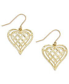 Openwork Heart Drop Earrings in 10k Gold