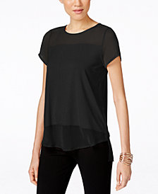 Vince Caumto High-Low Sheer-Contrast Top