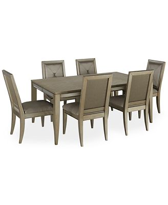 ailey dining room furniture, 7-piece set (dining table & 6 side