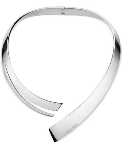 Calvin Klein beyond Silver-Tone Stainless Steel Hinged Choker Necklace KJ3UMJ000100