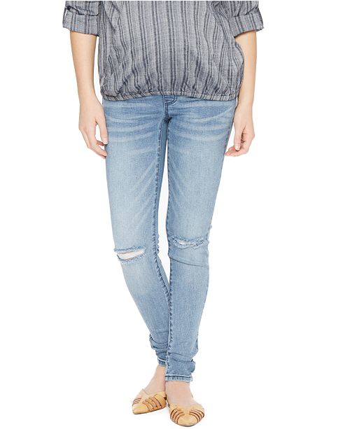 a98e43823c3cc ... Wendy Bellissimo Distressed Maternity Skinny Jeans, Medium Wash ...