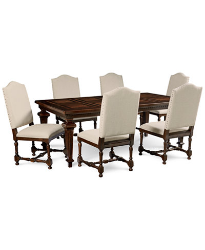 Cortwright 7 piece dining set expandable dining table 6 for Macys dining table