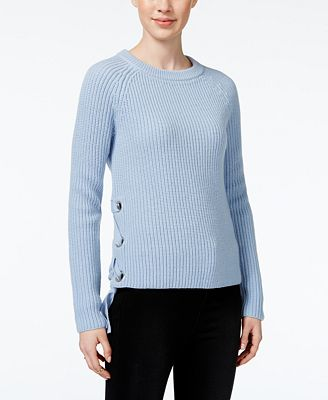 Bar III Long-Sleeve Lace-Up Sweater, Created for Macy's
