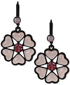 Betsey Johnson Black-Tone Heart Flower Drop Earrings
