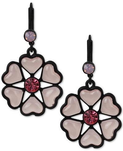 Betsey Johnson Black-Tone Heart Flower Drop Earrings