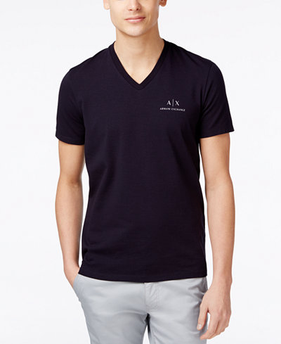 Armani Exchange Men's AX Signature Logo V-Neck T-Shirt