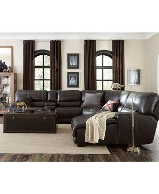 Furniture Closeout Warrin 3 Pc Leather Sectional Sofa With Chaise