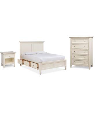 Sanibel Storage Platform Bedroom Furniture 3 Pc. Set (California King  Platform Bed, Chest, And Nightstand)