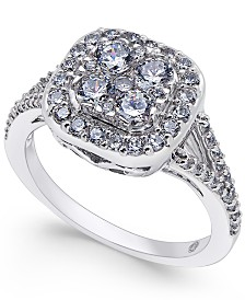 Diamond Cluster Engagement Ring (1 ct. t.w.) in 14k White Gold