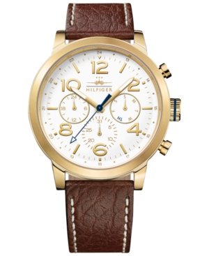 Tommy Hilfiger Men's Casual Sport Brown Leather Strap Watch