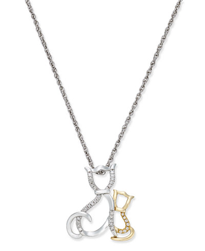 Diamond Family Cat Pendant Necklace (1/10 ct. t.w.) in Sterling Silver and 14k Gold