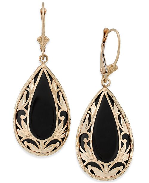 Macy's Onyx Teardrop Decorative Framed Drop Earrings  (28mm x 16mm)  in 14k Gold