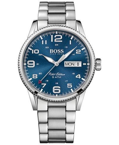 BOSS Hugo Boss Men's Pilot Stainless Steel Bracelet Watch 44mm 1513329