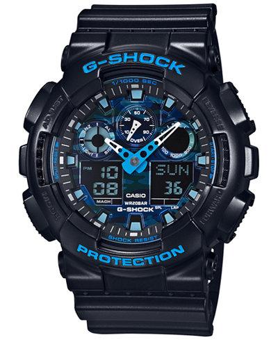 G-Shock Men's Analog-Digital Black Resin Bracelet Watch 55x51mm GA100CB-1A