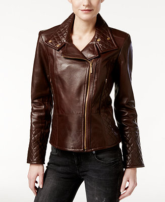 Calvin Klein Leather Quilted Moto Jacket Coats Women
