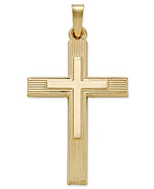 Two Tone Crucifix Charm Pendant in 14k Yellow and White Gold