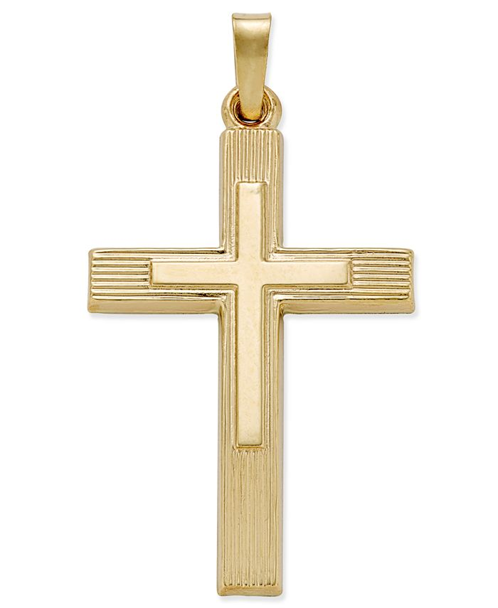 Macy's - Two Tone Crucifix Charm Pendant in 14k Yellow and White Gold