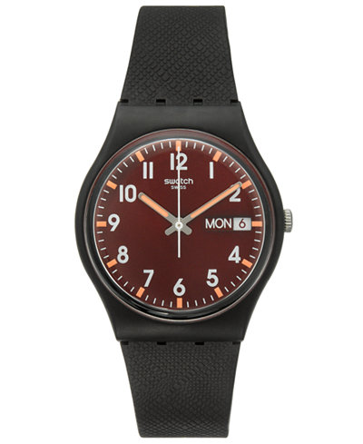 Swatch Unisex Swiss Core Black Silicone Strap Watch 34mm GB753